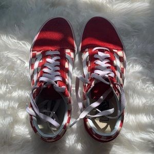 Red Checkered Board Vans